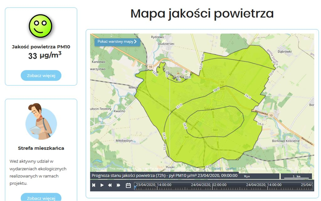Mapa jakości powietrza miasta Sierpc