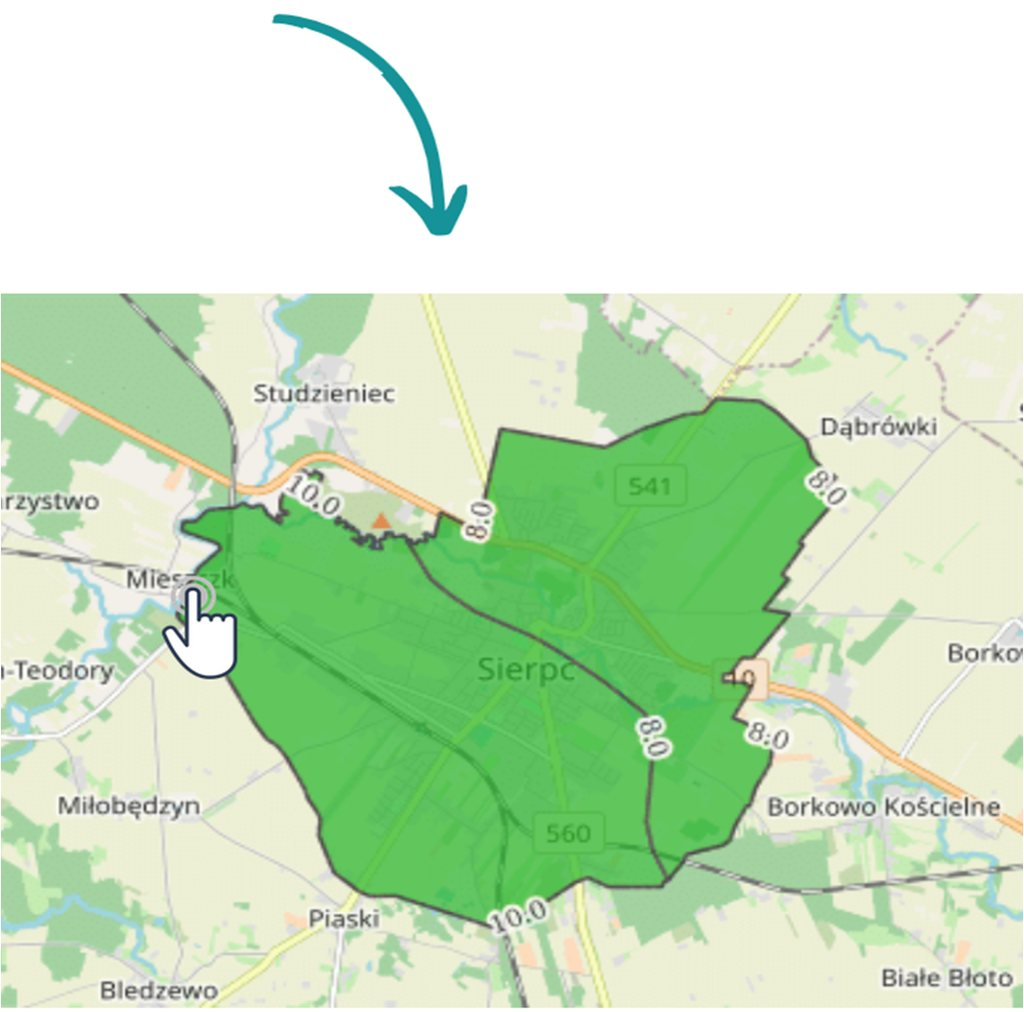 Mapa miasta Sierpc, pokazująca jakość powietrza