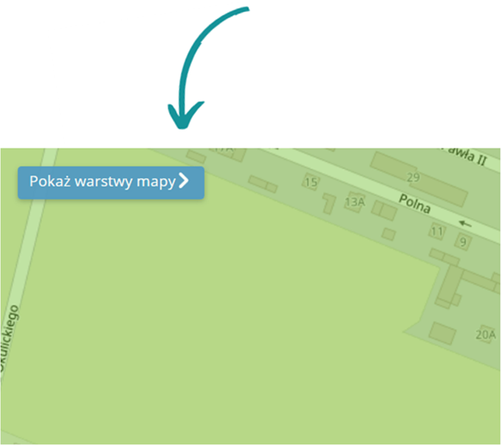 Przycisk pokazujący warstwy mapy jakości powietrza dla miasta Sierpc